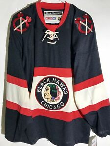 sports shoes 094d9 d6133 Details about CCM Classic NHL Jersey Chicago Blackhawks Team Black  Throwback sz XL