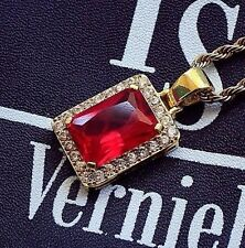 Square Ruby Red Gem Stone Pendant Charm And Gold Rope Chain Necklace