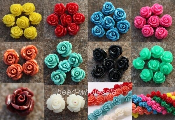 10/15/20 Pcs Gorgeous Rose Flower Coral Spacer beads Red Blue White 10/12/15mm