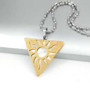"Silver Gold Egypt Pyramid Egyptian Sun Pendant 24"" 61cm Mens Chain Necklace"