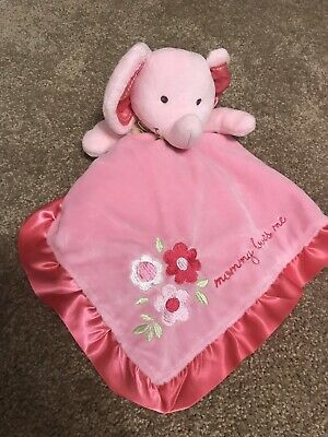 Carters Lovey Mommy Loves Me Security Blanket Rattle Pink Satin Plush Elephant