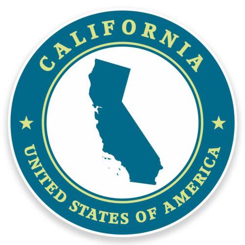 2 x 10cm California usa vinyle autocollant ordinateur portable de voyage voiture bagages tag Map # 9412