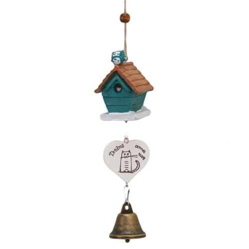 CB NEW Bird Wooden House Landscape Home Garden Room Decorative Wind Chime Bell