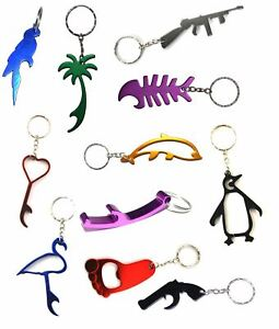 Bottle-Opener-Keyrings-Metal-Colour-Keychain-Mixed-Designs-Stocking-Filler-Xmas