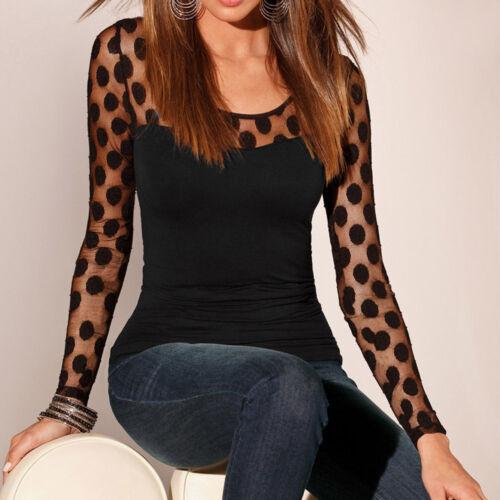 Chic Women Long Sleeve Shirt Soft Casual Clubwear Silk Lace Blouse Tops T Shirt