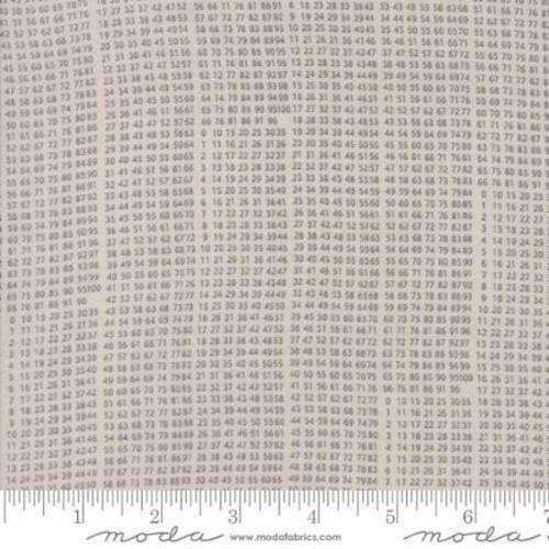 Moda Basic Grey Composition 10 Key Numbers Fabric in Taupe 30456-15