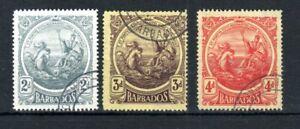 Barbados-1916-19-2d-3d-y-4d-Sello-De-Colonia-valores-Fu-Cds