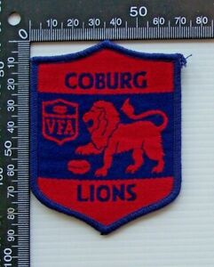RARE VINTAGE VFA COBURG LIONS EMBROIDERED WOVEN VICTORIA FOOTY VFL SEW-ON BADGE