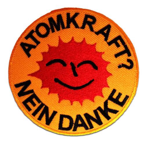 Aufnäher / Bügelbild - Atomkraft Nein Danke! - gelb - Ø9 cm -Applikationen Patch