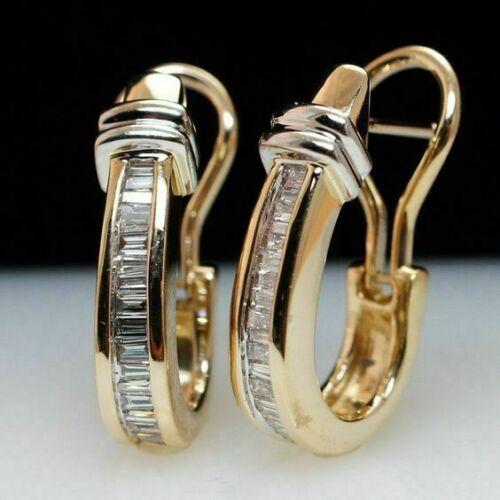 1.00 Ct Baguette Cut Diamond Hoop Earring For Women/'s 14K Yellow Gold Finish