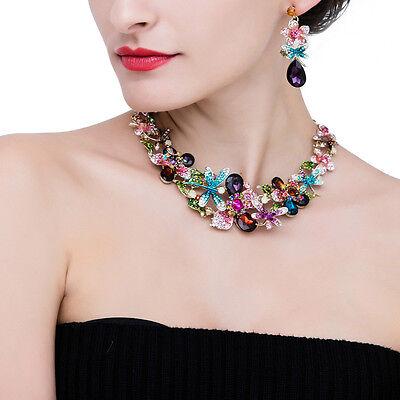 Colorful Crystal Rhinestone Flower Drop Choker Necklace Earrings Jewelry Set
