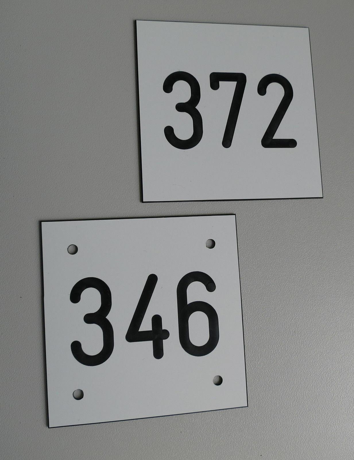 PVC Schilder Zahlenmarken Ziffernschilder  80mm x 80mm Parzelle Gartentürschild