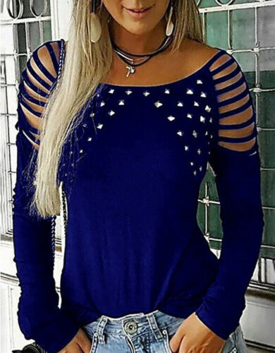 Womens Cold Shoulder Hollow T-shirt Cut Out Long Sleeve Tops Blouse Plus Size