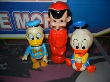 VINTAGE Disney Rubber Figurines: Donald Duck, Pinocchio, Baby Donald