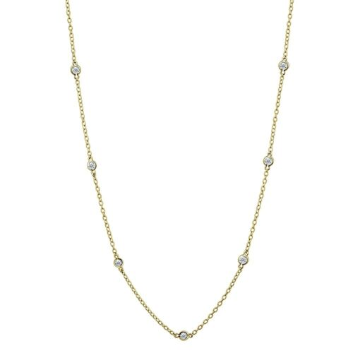 16 Inch CZ Station Chain Dainty Necklace in Gold Plated Sterling Silver
