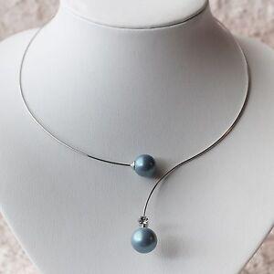 Nouveau-Halsreif-avec-perles-bleu-strass-clair-collier-couleur-argent-collier
