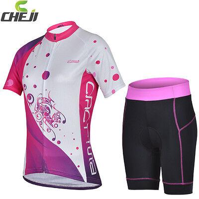 UK Stock Summer White Pink Women Bike Cycling Sports Wear Jersey Top Shirt S-XXL