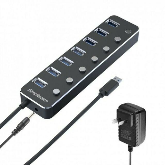 Simplecom CH375PS 7 Port USB 3.0 Hub-Individual Switches-Power Adapter-Aluminium