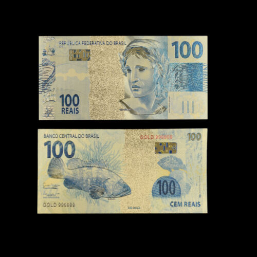 Brazil 100 Real 24k Gold Banknote Colorful Currency Bill Note Worth Collection