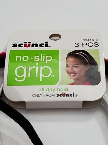 Scunci No Slip Grip Headbands 3 Pk Skinny Pink Black Zebra Lot of 2