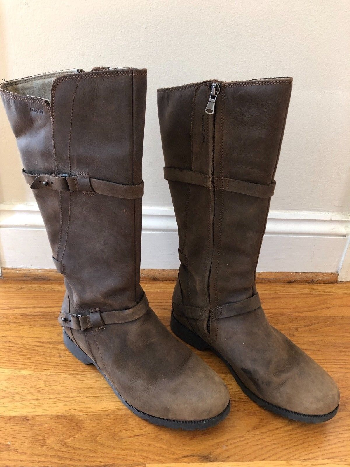Teva Delavina Tall Women's Leather Boots Waterproof 7.5