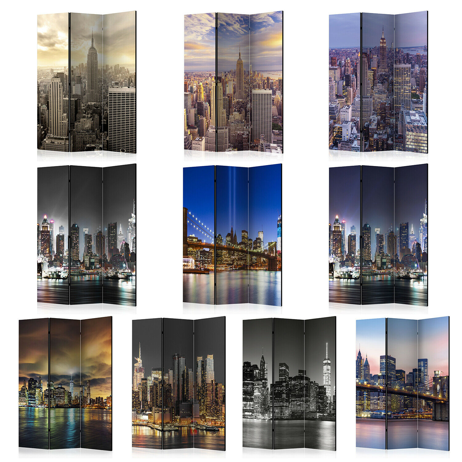 Folding Screen Room Divider Non-Woven Printed New York 10 patterns d-A-0042-z-c