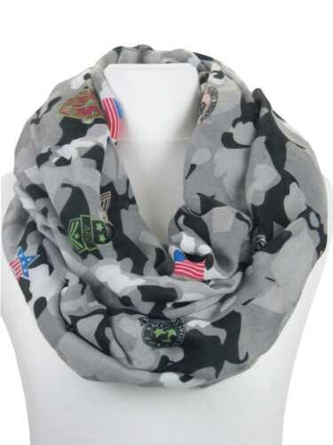 Schlauchschal Camouflage mit aufgedruckten Patches Grau-Schwarz