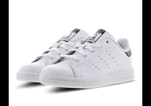 Kids Adidas Stan Smith Metallic Snake Trainers White S76462 VARIOUS SIZES