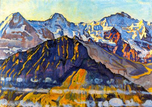Mönch und Jungfrau in der Morgensonne Schweiz Alpen Hodler A3 05 Eiger