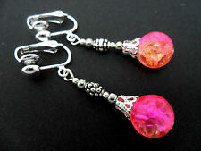 A PAIR OF TIBETAN SILVER PINK/YELLOW CRACKLE GLASS BEAD  CLIP ON EARRINGS. NEW.