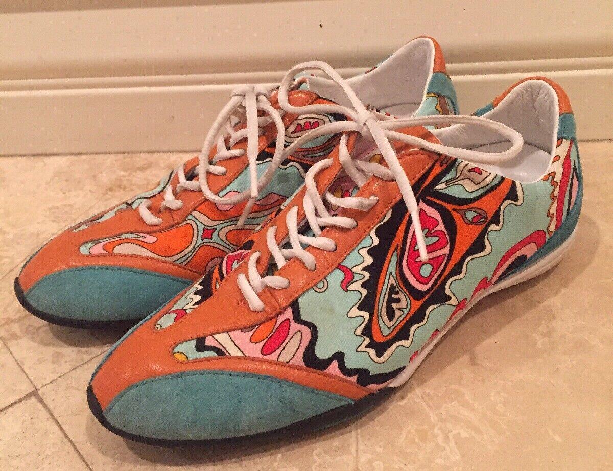 EMILIO PUCCI Rare Auth Designer Geometric colorful Tennis shoes 35  Worn 1x
