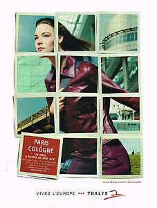 PUBLICITE ADVERTISING 104  2002  THALYS  compagnie aérienne PARIS-COLOGNE