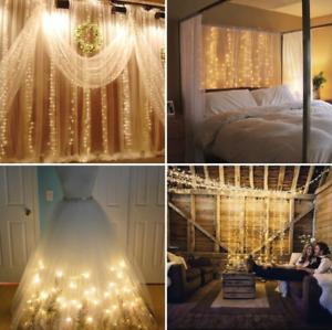 3x3M-300-LED-Lumiere-Fee-Rideau-de-Fenetre-Noel-Fete-Lampe-Exterieur-mariage