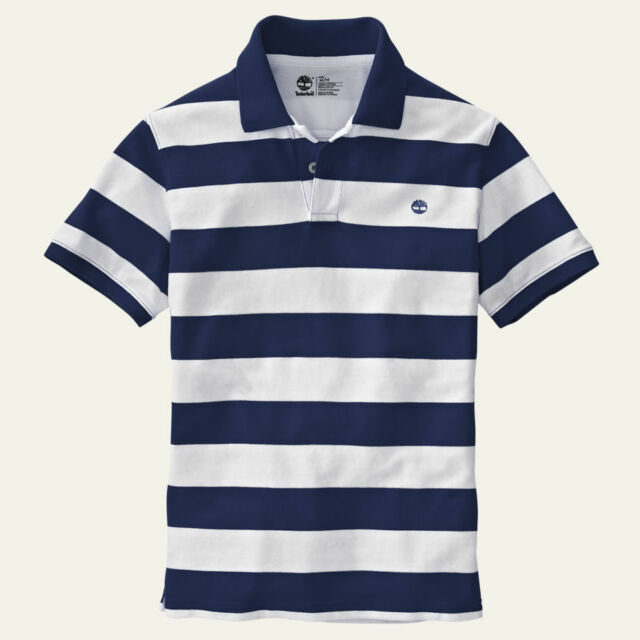Timberland Men's Short Sleeve Miller River Striped Rugby Navy Polo Shirt 8744J