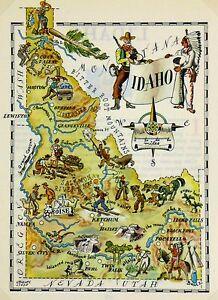 Details about Idaho Antique Vintage Pictorial Map
