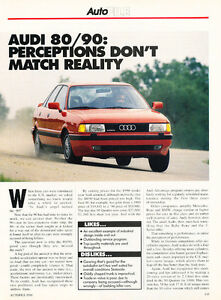 1991 Audi 80 90 - Road Test - Classic Car Original Print Article J99