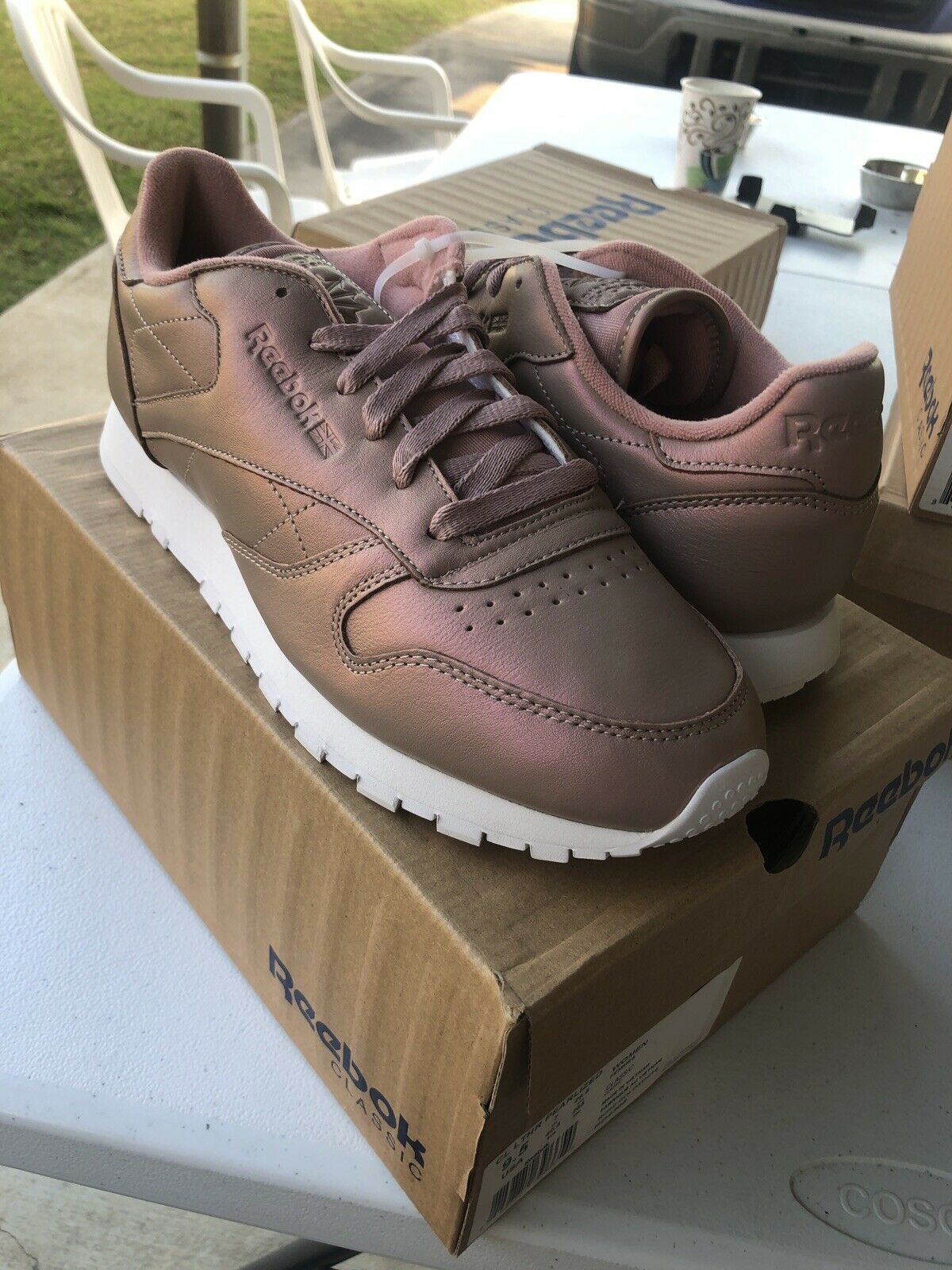 Bangladesh alimentar marea  Womens Reebok Classic Leather Pearlized Rose Gold/white Bd4308 for sale  online | eBay