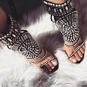 3fd7a517a38a Details about Black White Pearl Studded Rhinestone Open Toe Strappy Gladiator  Heels