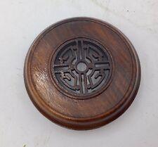 """3.25"""" Dark Brown Carved Rosewood Lid for Antique Chinese Porcelain Ginger Jar"""