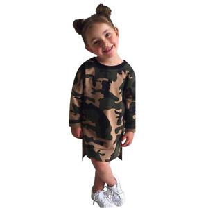 196b7b265e0 Image is loading Camouflage-Long-Sleeve-Kids-Baby-Children-Girl-039-