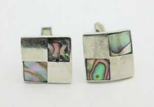 Initiative Sterling Silver .925 Vintage Square Abalone Inlay Cuff Links 12.7g I397 Jewelry & Watches