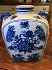 "Asian Vase Blue and White Porcelain Vintage 9.5""Tall 7"" Wide Chinese Vase"