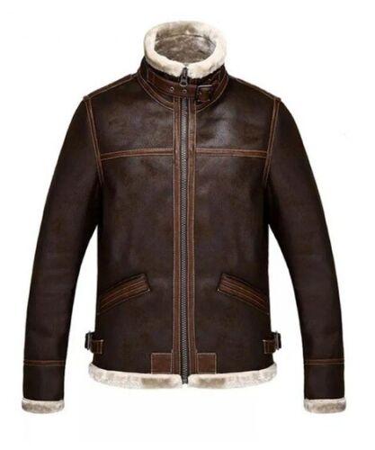 Blouson synthᄄᆭtique marron en de mouton fourrure cuir d'hiver en effet aviateur veste peau avec Yf6v7bgy