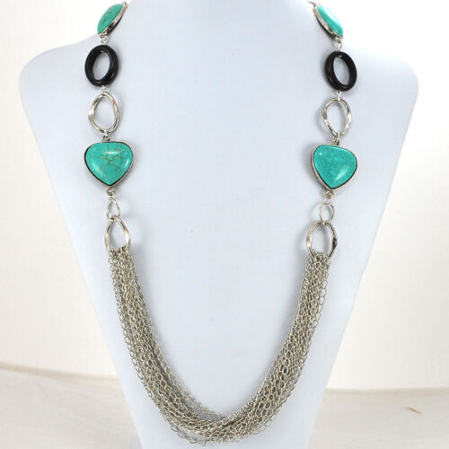 Black Onyx /& Blue Magnesite Turquoise Silver Chain Long Statement Necklace 33/""