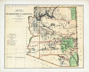 Geographical Map Of Arizona.Details About 1876 Department Interior Map Territory Of Arizona Geographical Political 11