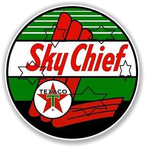 VINTAGE SKY CHIEF TEXACO GAS PUMP  DECAL STICKER LABEL 9 INCH DIA 230 MM HOT ROD