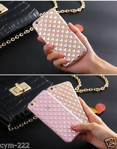 Coeurs-Strass-Housse-Etui-Coque-iPhone-4-5-SE-6-7-Plus-Bling-Souple-luxe-Cover