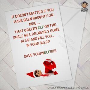 Image De Noel Drole.Details Sur Drole De Carte De Noel Humour Blague Coquine Rude Elf Etagere Crazy Parents Afficher Le Titre D Origine