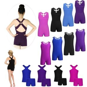 Girls-Gymnastics-Cross-Back-Leotard-Outfit-Ballet-Dance-Jumpsuit-Sports-Biketard