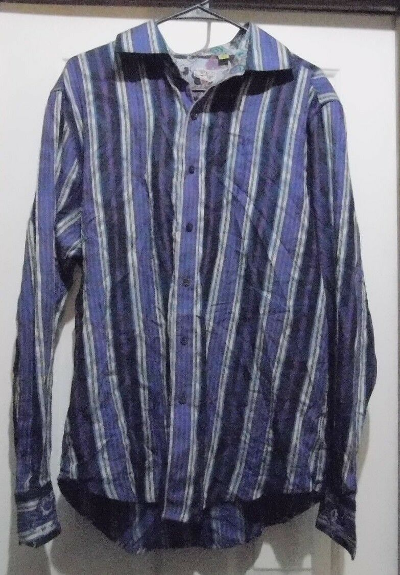 ROBERT GRAHAM  Tailored Fit  Bold LS Purple & bluee Striped Button Up SHIRT - XL